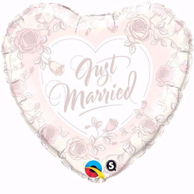 Picture of Folienballon Hochzeit Herz Just Married Rosen
