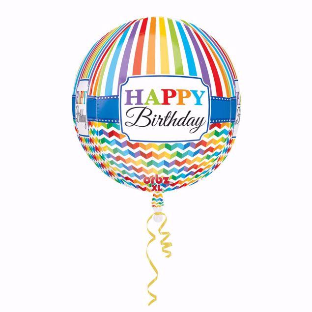 Picture of Folienballon Orbz Happy Birthday Bright Stripe & Chevron
