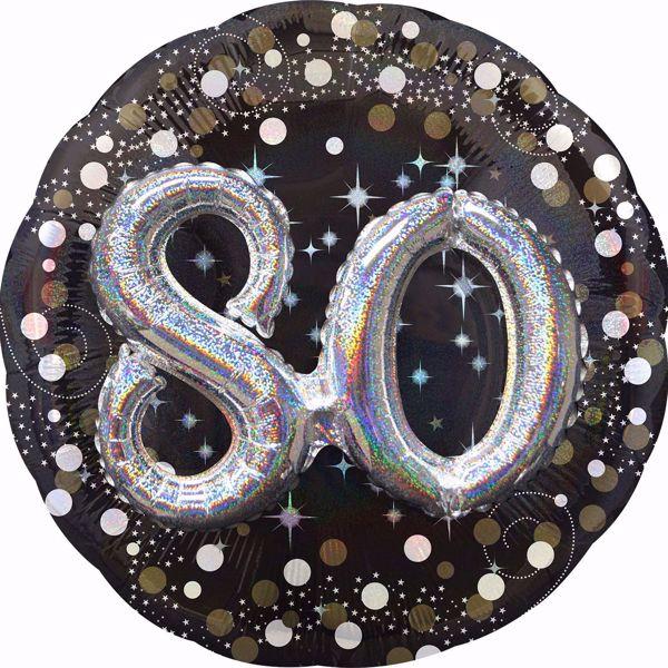 Bild von Folienballon Multi-Balloon Sparkling Birthday 80