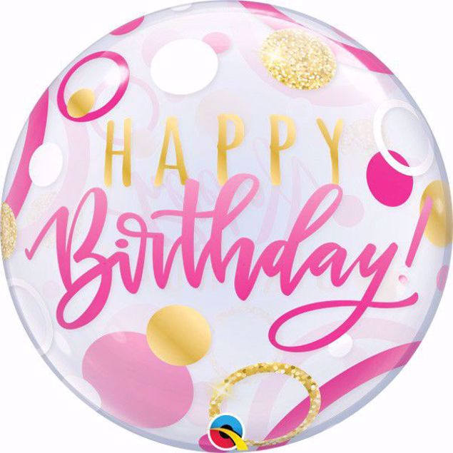 "Picture of 22"" SINGLE BUBBLE BIRTHDAY PINK & GOLD DOTS"