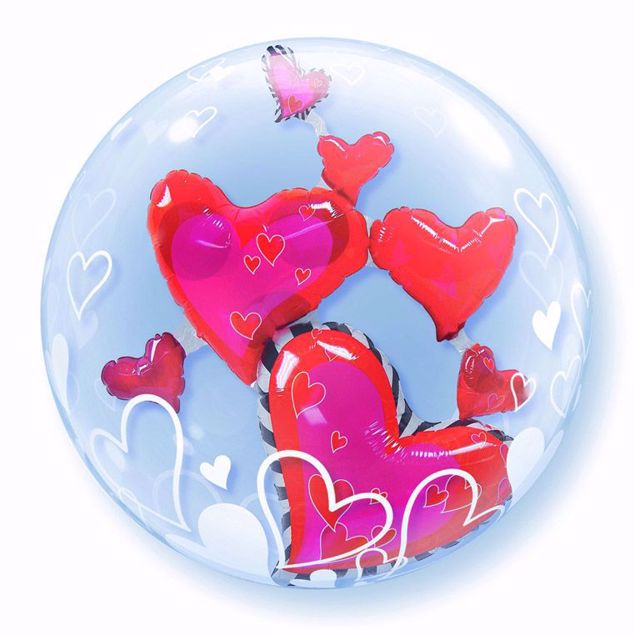 "Picture of 24"" DOUBLE BUBBLE LOVLEY FLOATING HEART"