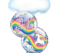 Picture of SINGLE BUBBLE Happy Birthday Regenbogen Einhorn