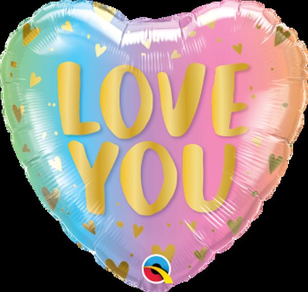 """Bild von Folienballon HERZ PASTELL """"LOVE YOU"""""""