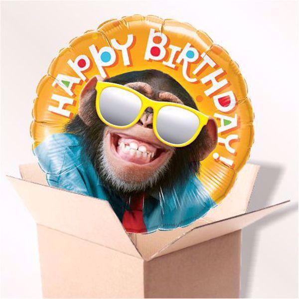 Bild von Folienballon Happy Birthday monkey im Karton