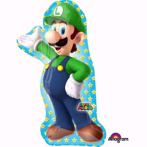 Die Spielfigur Luigi aus Super Mario vor einem blauem Hintergrund mit Sternen.