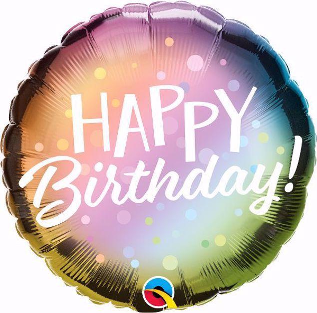 Bild von Folienballon Happy Birthday pastell
