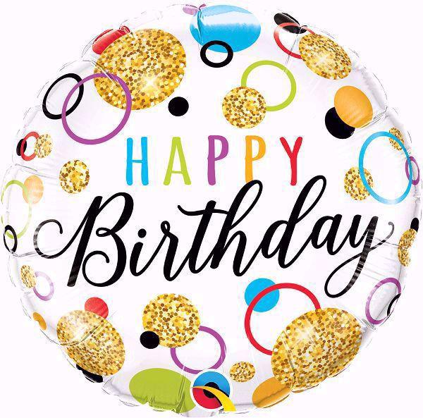 Picture of Folienballon Happy Birthday Golden glitter dots