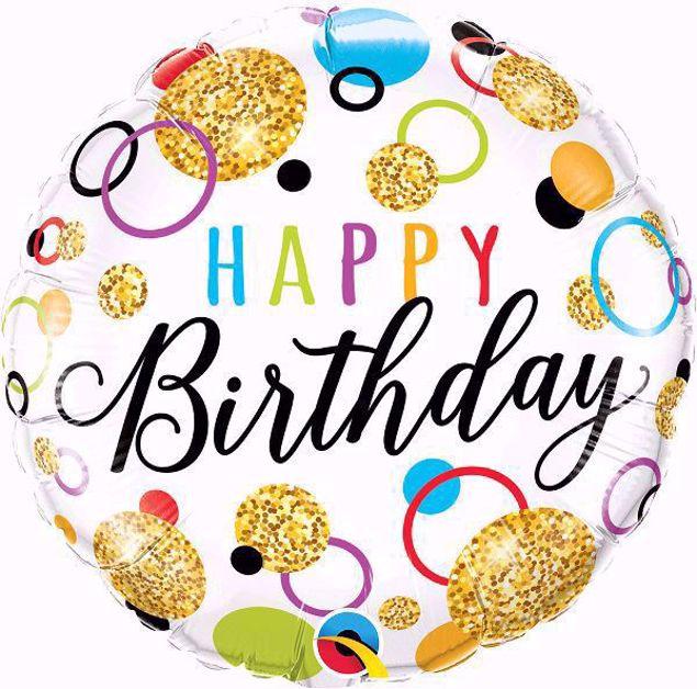 Bild von Folienballon Happy Birthday Golden glitter dots
