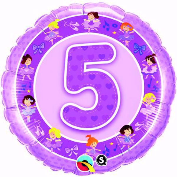 Bild von Folienballon Alter 5 rosa