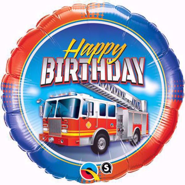 Bild von Folienballon Birthday Fire Truck