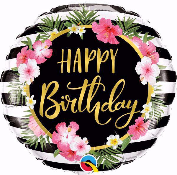 Picture of Folienballon Happy Birthday Hibiskus
