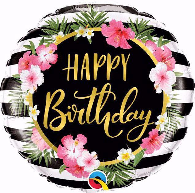 Bild von Folienballon Happy Birthday Hibiskus