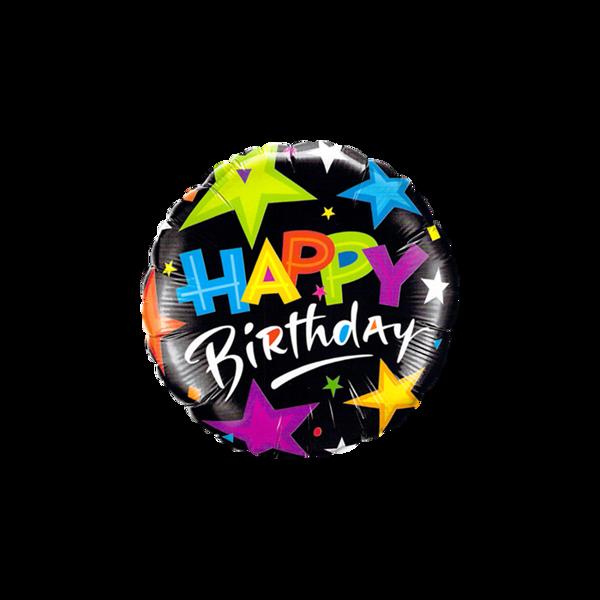 Bild von Folienballon Happy Birthday Sterne schwarz