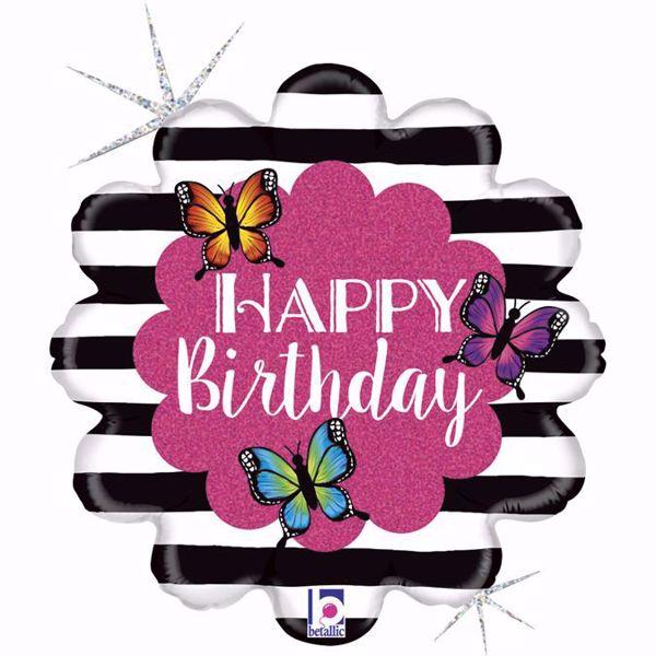 Bild von Folienballon Happy Birthday Schmetterlinge