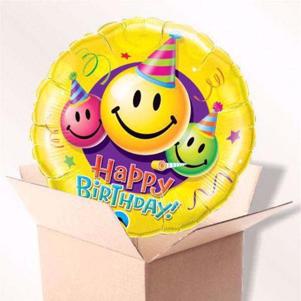 Picture of Folienballon Happy Birthday Party-Smiley im Karton