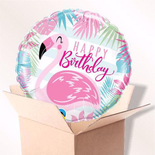 Bild von Folienballon Happy Birthday Flamingo im Karton