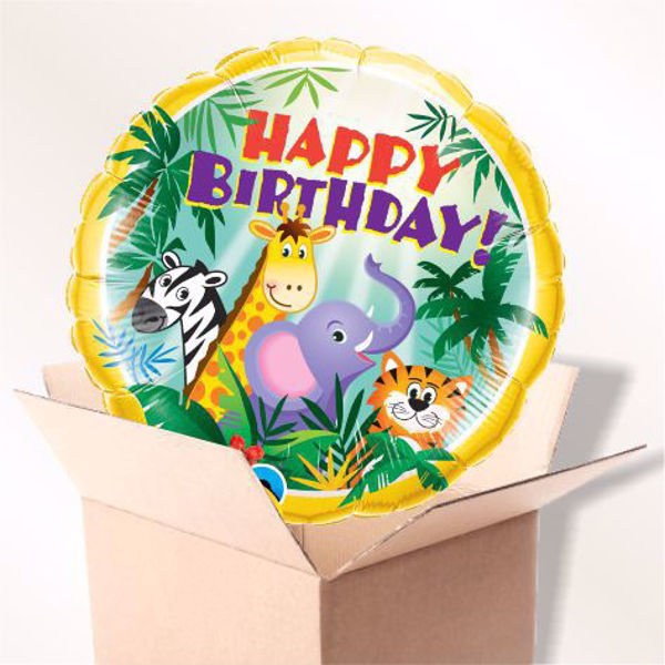 Picture of Folienballon Happy Birthday Dschungel im Karton