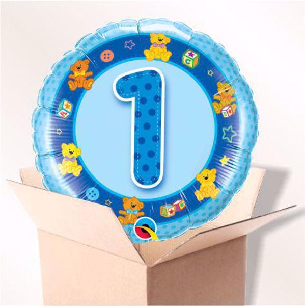 Bild von Folienballon Alter 1 blau im Karton