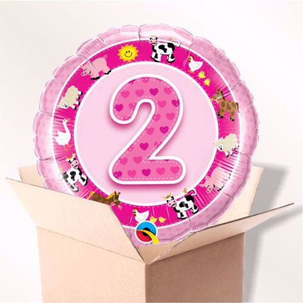 Picture of Folienballon Alter 2 rosa im Karton