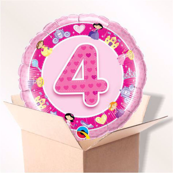 Picture of Folienballon Alter 4 rosa im Karton