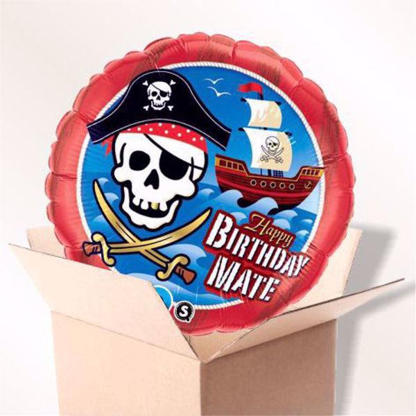 Picture of Folienballon Happy Birthday Piratenschiff im Karton