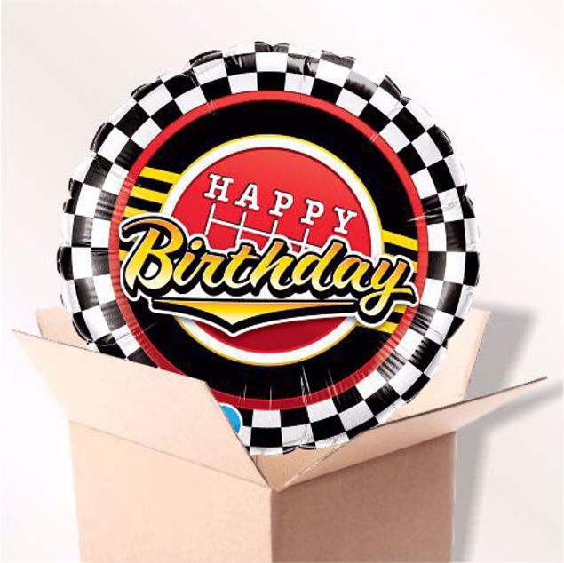 Picture of Folienballon Happy Birthday Scheck Muster im Karton