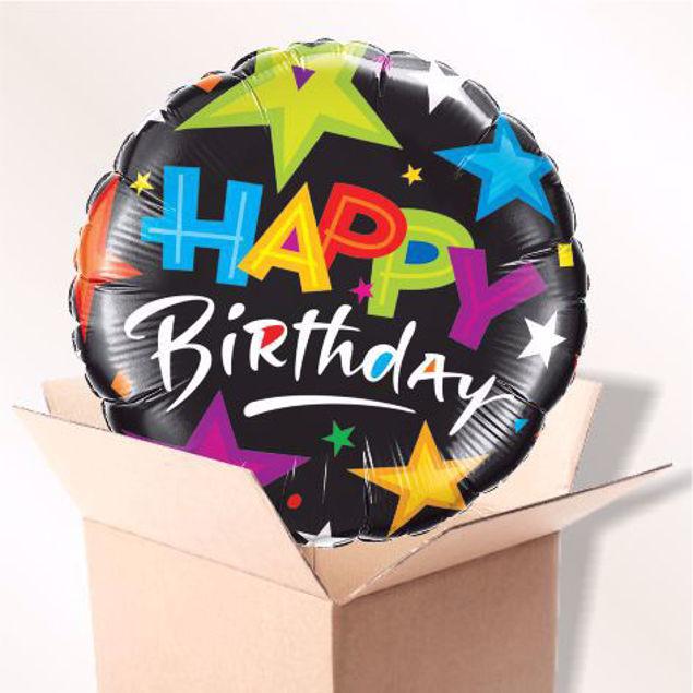 Picture of Folienballon Happy Birthday Sterne schwarz im Karton