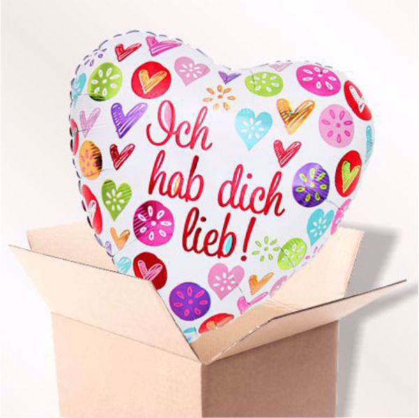 Bild von Folienballon Hab dich lieb Herz im Karton
