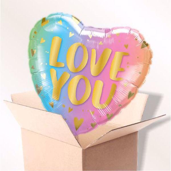 Picture of Folienballon Love you pastell im Karton