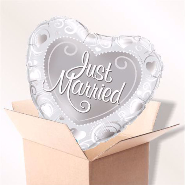 Picture of Folienballon Just Married Hearts silber im Karton