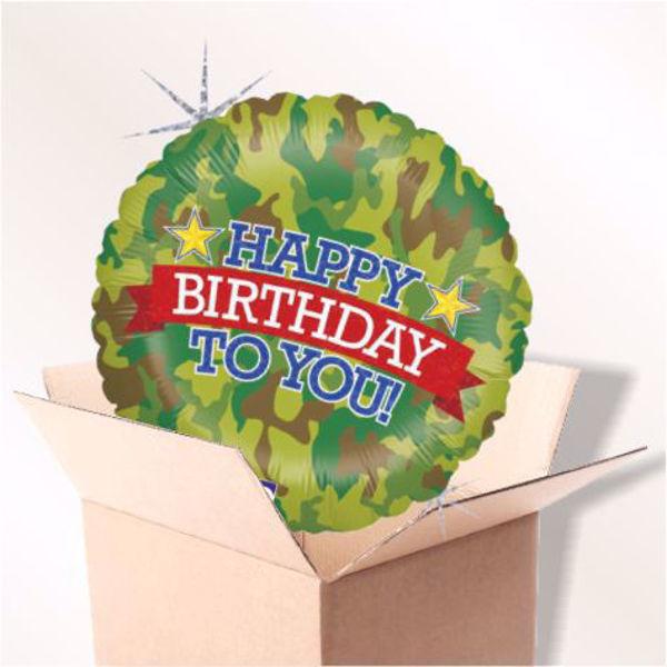 Bild von Folienballon Happy Birthday Camouflage im Karton