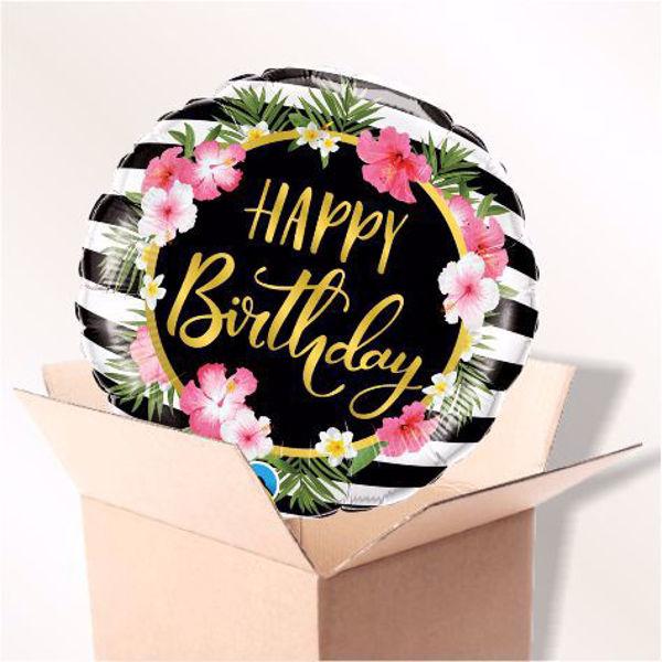 Bild von Folienballon Happy Birthday Hibiskus im Karton