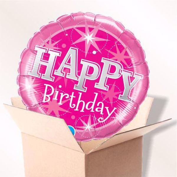 Bild von Folienballon Birthday pink sparkle im Karton