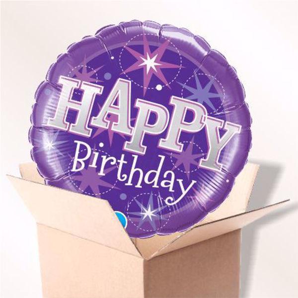 Picture of Folienballon Birthday lila sparkle im Karton