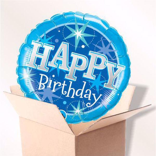 Picture of Folienballon Birthday blue sparkle im Karton