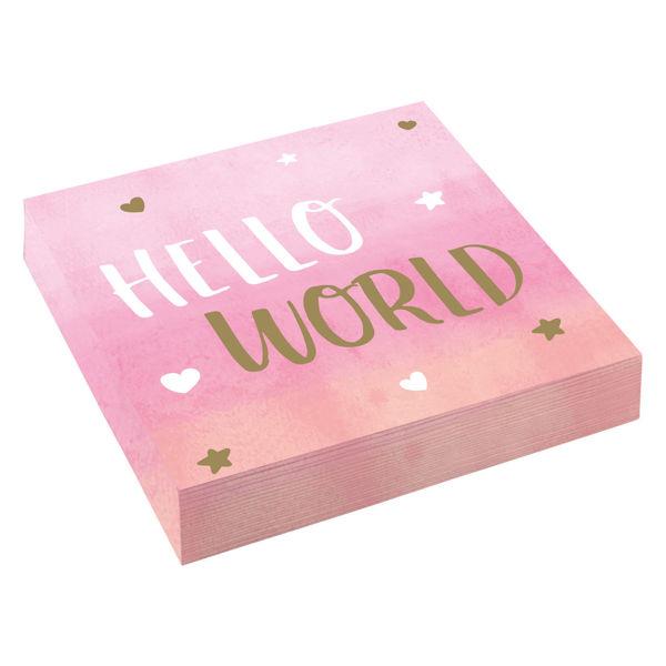 "Picture of 16 Servietten Oh Baby Girl ""Hello World"""