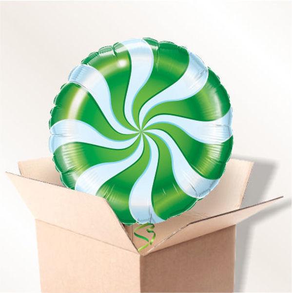 Picture of Folienballon Bonbon Wirbel grün im Karton
