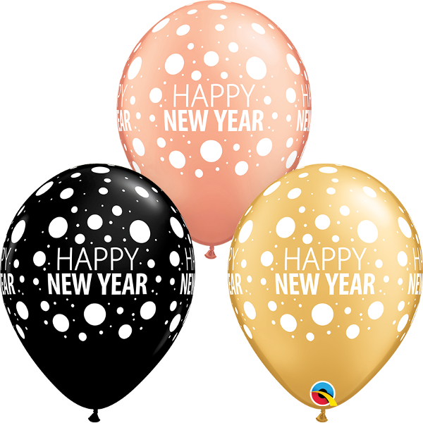 """Picture of Latexballon """"HAPPY NEW YEAR DOTS"""" 11 inch"""