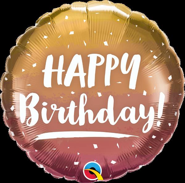 "Picture of Happy birthday gold & rose ombre folienballon 18"""