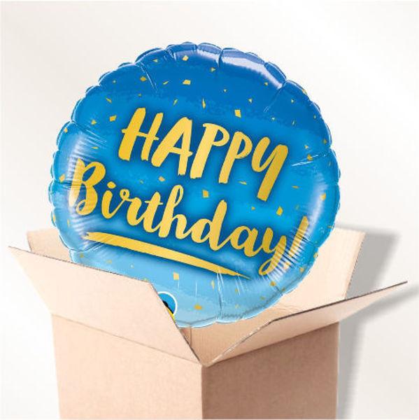 Picture of Folienballon Happy Birthday blau Konfetti im Karton