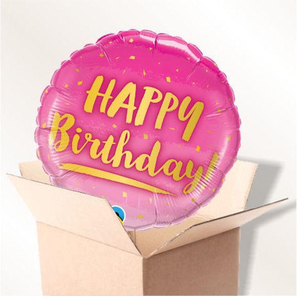 Picture of Folienballon Happy Birthday pink Konfetti  im Karton