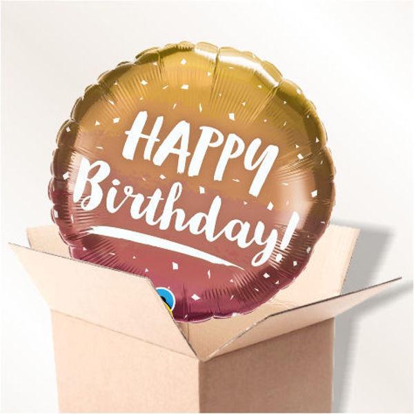 Picture of Folienballon Happy Birthday gold Konfetti  im Karton