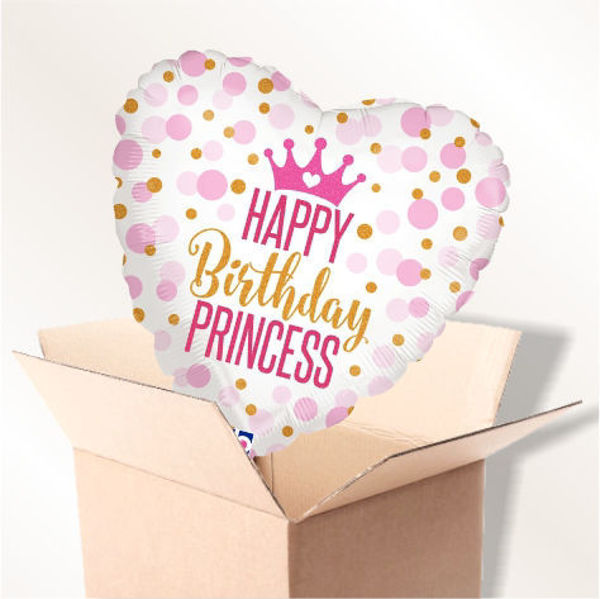 "Picture of Folienballon ""Happy Birthday Princess"" im Karton"