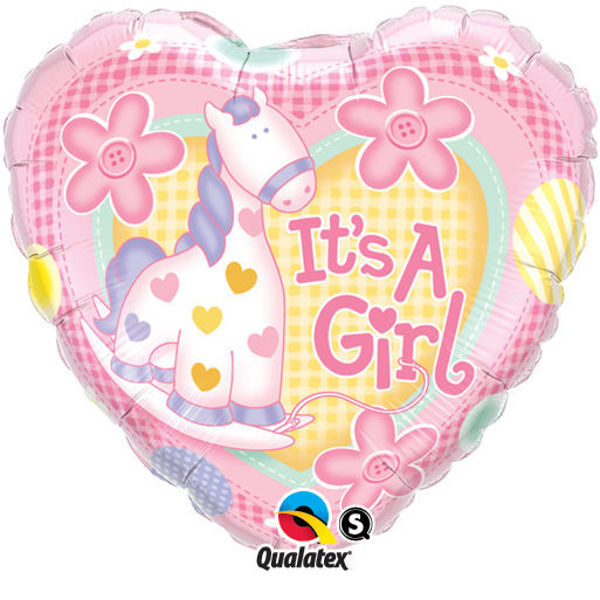 "Picture of It's a girl pony Folienballon 18"""