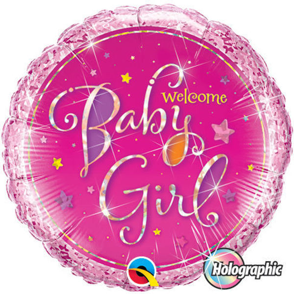 Picture of Welcome Baby Girl Stars Folienballon 18""