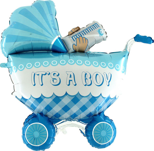 """Picture of It's a baby boy buggy Folienballon 42"""""""