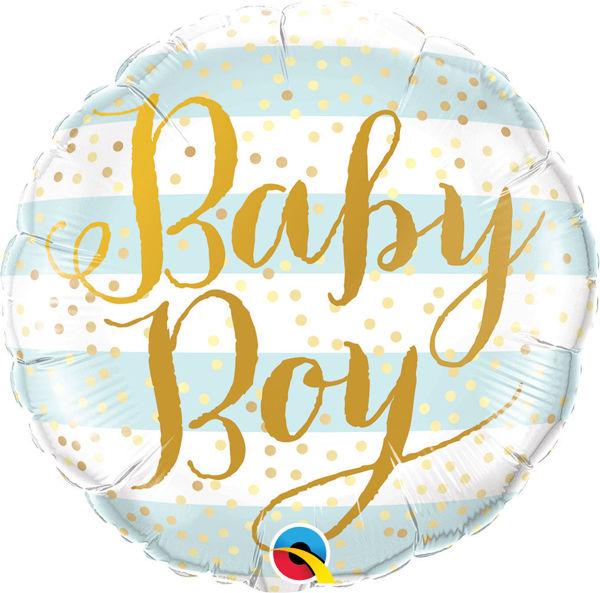 "Picture of Baby Boy Blue Stripes Folienballon 18"""
