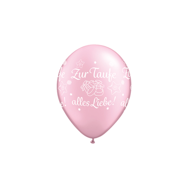Picture of Latexballon Zur Taufe alles Liebe! Pearl Rosa 11 inch