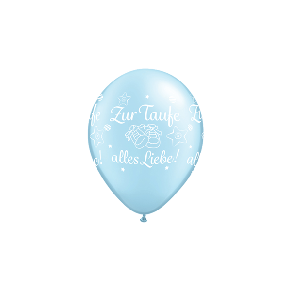 Picture of Latexballon Zur Taufe alles Liebe! Pearl Blau 11 inch