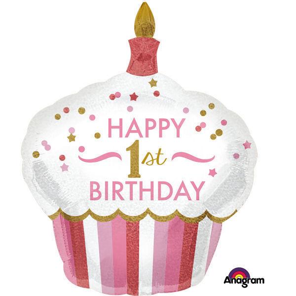 """Picture of SuperShape """"1st Birthday Cupcake - Mädchen"""" Folienballon"""